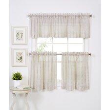 Linen Stripe Rod Pocket Sheer Window Curtain Valance