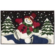 """Décor Christmas Red """"Snowman on Skates"""" Area Rug"""