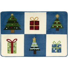 """Accent Décor """"Trees with Gifts"""" Blue Area Rug"""