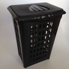 Plastic Perforated Rectangular Lift Top Laundry Hamper with Lid