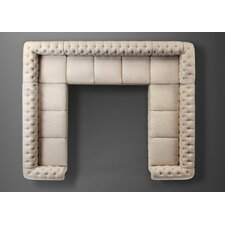 Garcia Beige High Rolled Arms Sectional Sofa