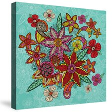 Boho Floral - Turquoise by Carlos Merrier Graphic Art on Canvas