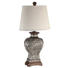 "Antique Silver Carved Flower 34"" H Table Lamp with Empire Shade"