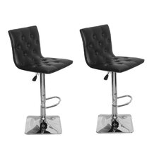 Fancy Adjustable Height Swivel Bar Stool with Cushion (Set of 2)