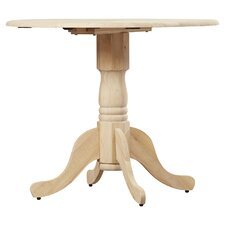 Unfinished Wood Dining Table with Dual Drop Leaf