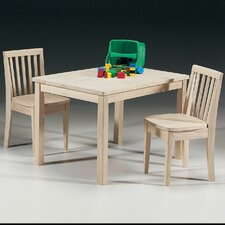 Unfinished Wood Mission Juvenile Kids Table and Chair Set