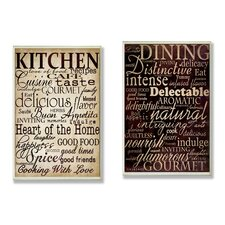 Isabell Dining and Kitchen 2 Piece Kitchen Typography Wall Plaque Set