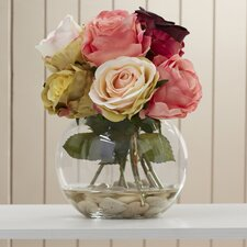 Josie Silk Roses in Glass Bowl