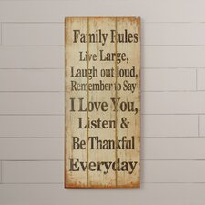 Opheim Family Rules Wooden Wall Decor
