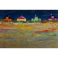 Painted Beach with Beach Houses Graphic Art on Canvas