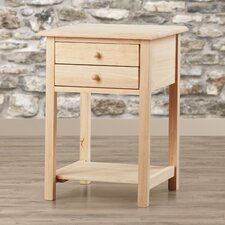 Wood 2 Drawer End Table