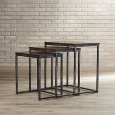Wheeler 3 Piece Nesting Table Set in Brown Cherry