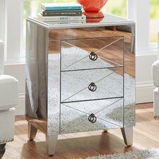 Mirrored 3 Drawer Side Table