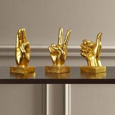 3 Piece Decorative Hand Sign Sculpture Set