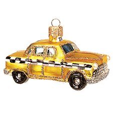 Pinnacle Peak Glass Miniature New York City Taxi Christmas Ornament