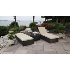 Salina 3 Piece Chaise Lounge Chair Set with Cushion