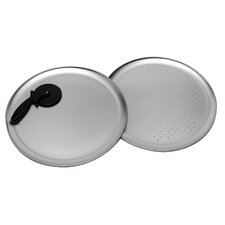 3 Piece Tin Pizza Pan Set with Nylon Pizza Cutter