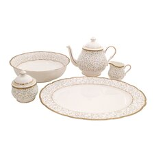Flores Bone China Traditional Serving 5 Piece Dinnerware Set