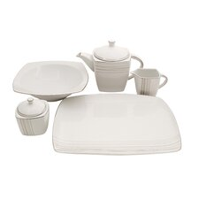 Geometric Square Fine China Traditional Serving 5 Piece Dinnerware Set