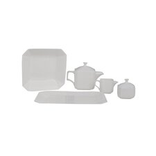 Octago Square Bone China Traditional Serving 5 Piece Dinnerware Set