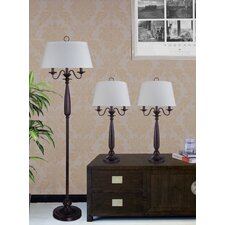 3 Piece Traditional Table Lamp and Floor Lamp Set with Empire Shade
