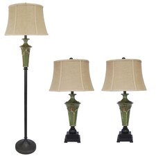 3 Piece Table Lamp and Floor Lamp Set with Bell Shade
