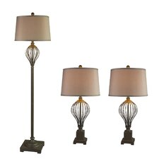 3 Piece Table Lamp and Floor Lamp Set with Empire Shade