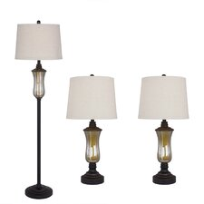3 Piece Seeded Glass and Metal Table/Floor Lamp Set with Empire Shade