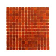 "LEED Amber 0.75"" x 0.75"" Glass Mosaic Tile in Snappy Red"