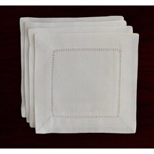 Handmade Hemstitch Linen Cocktail Napkin (Set of 4)