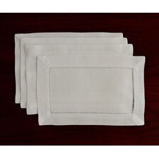 Handmade Hemstitch Linen Oblong Cocktail Napkin (Set of 4)