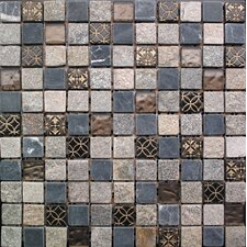 "Cloudy Sand 12"" x 12"" Stone / Glass Square Mosaic Tile in 4 Color Blend"