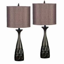 """Chakra 29.5"""" H Table Lamp with Drum Shade (Set of 2)"""
