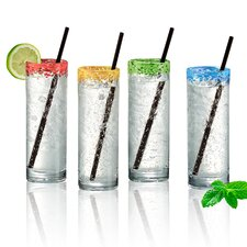 Mingle 12 Oz. Cooler Glass and Straw (Set of 4)