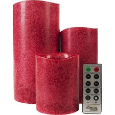 Mottled Series Flameless 3 Piece Pillar Candle Set with Remote