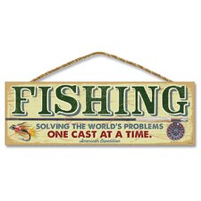 'Fishing - Solving the World's Problems' Vintage Advertisment Plaque