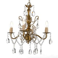 Wrought Iron and Crystal 4 Light Crystal Chandelier