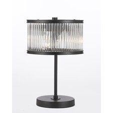 "Crystal Rod Iron Essex Contemporary 14"" H Table Lamp with Drum Shade"