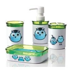 Kid's 4 Piece Owl Bathroom Accessory Set
