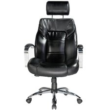 Louis Leather Computer Chair in Black