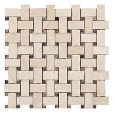 Crema Marfil Basket Weave Mosaic Polished in Dark Emperador dot