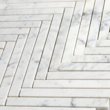 "Bianco Carrara 5/8"" x 6"" Herringbone Mosaic Polished"
