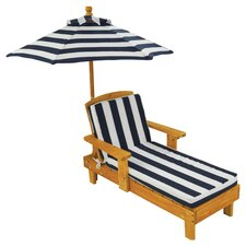 Chaise Lounge with Cushion and Umbrella