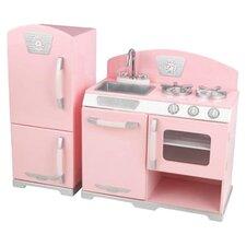 2 Piece Retro Kitchen and Refrigerator Set