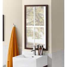 Contemporary Solid Wood Framed Bathroom Mirror in Vintage Walnut