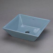 Square Ceramic Vessel Bathroom Sink in Medium Blue