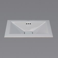 Ceramic Vessel - Square tapered semi-recessed w/overflow-Cool Gray