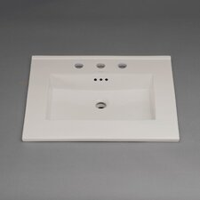 """Larisa 24"""" Ceramic Sinktop with 8"""" Widespread Faucet Hole in Cool Gray"""