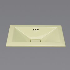 Ceramic Semi-Recessed Bathroom Sink in Pear Green