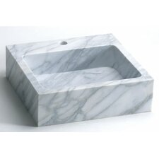 Rectangle Natural Carrara Marble Vessel Bathroom Sink in White